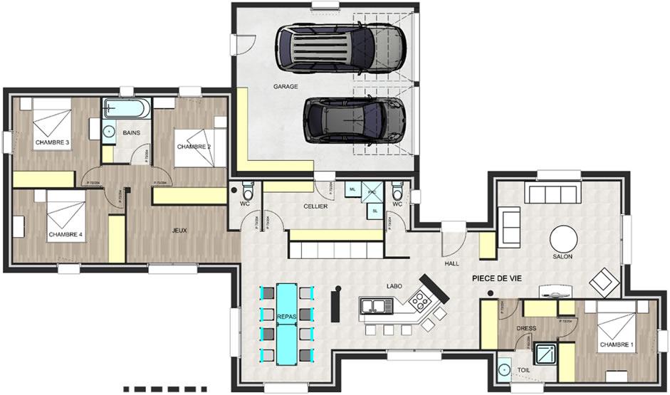 Maisons ligne sud maison contemporaine de 125 m - Plan maison en ligne ...